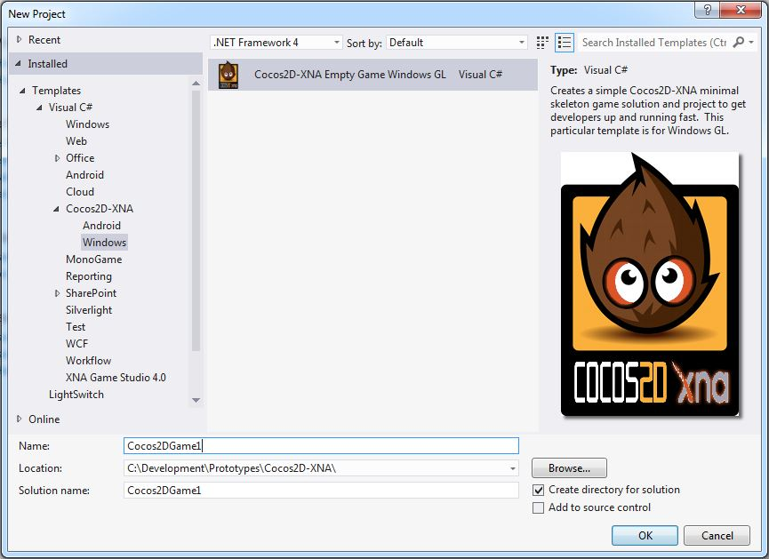 Create New Cocos2D-XNA Project